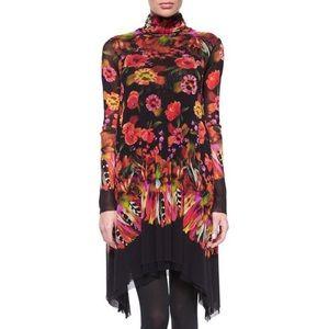 FUZZI Jean Paul Gautier Turtleneck Floral Dress